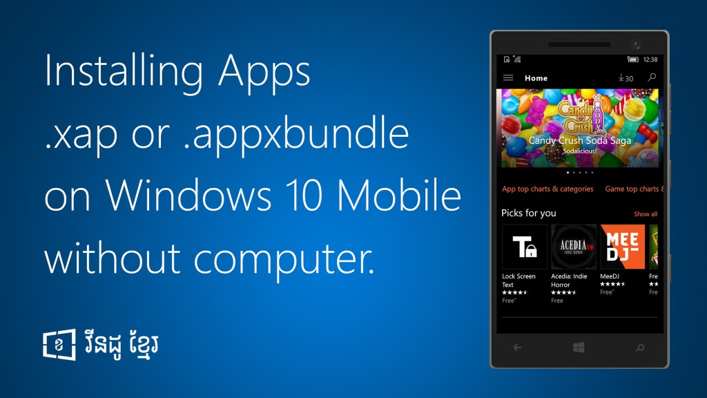 How to install .xap .appxbundle on Windows 10 Mobile without Computer
