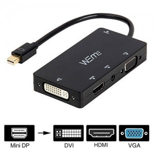 WEme 4-in-1 Mini DisplayPort (Compatible Thunderbolt) to HDMI/DVI/VGA Adapter Cable with Audio Output